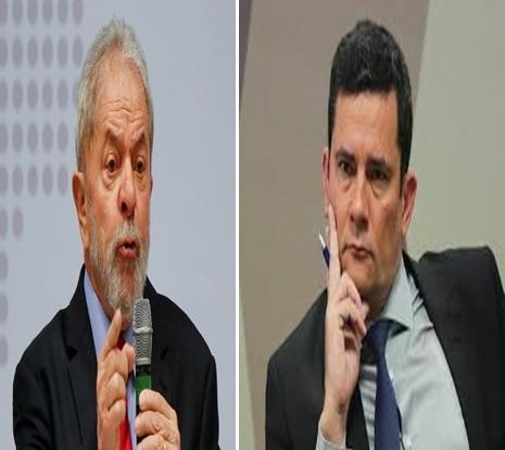 Montagem com fotos do ex-presidente Luiz Inácio Lula da Silva e do ministro da Justiça, Sérgio Moro — Foto: Reprodução Internet