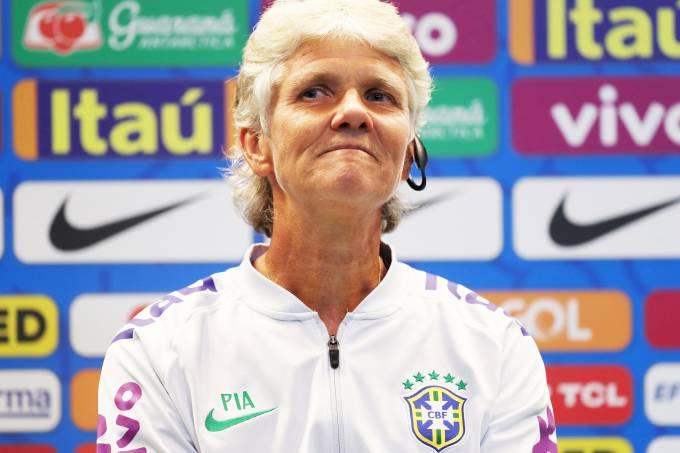A primeira coletiva de imprensa de Pia Sundhage como técnica da seleção brasileira de futebol feminino - 30/07/2019 (Ricardo Moraes/Reuters